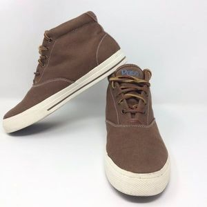 POLO RALPH LAUREN  Brown Canvas Leather Shoes
